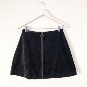 Free People Velveteen O-Ring Front Zip Mini Skirt